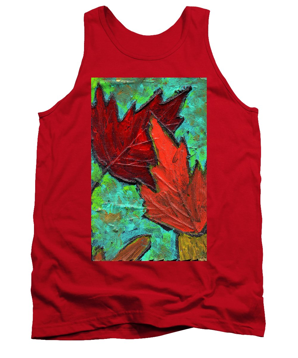 Maple Tank Top featuring the painting Maple Leaves by Wayne Potrafka
