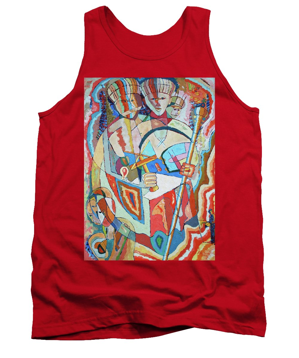 Johnpowellpaintings Tank Top featuring the painting Marcus Garvey And Elders by John Powell