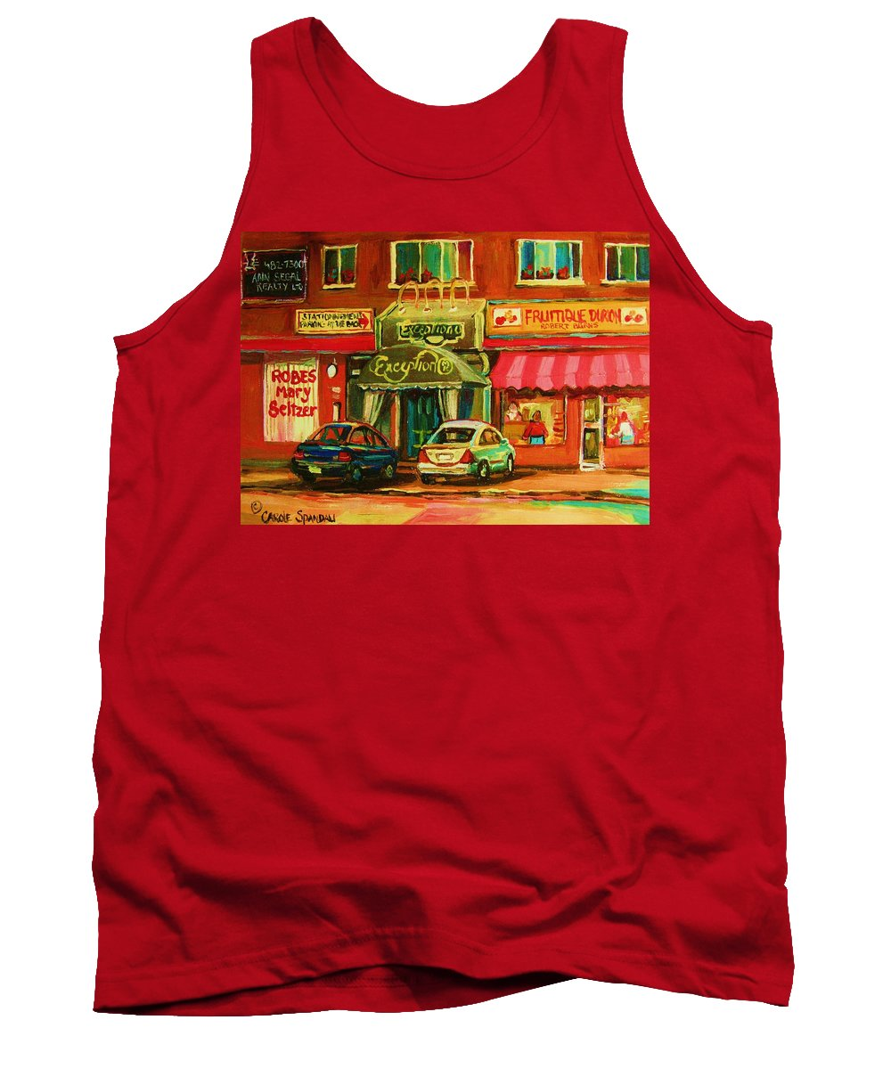 Mary Seltzer Dress Shop Tank Top featuring the painting Mary Seltzer Dress Shop by Carole Spandau