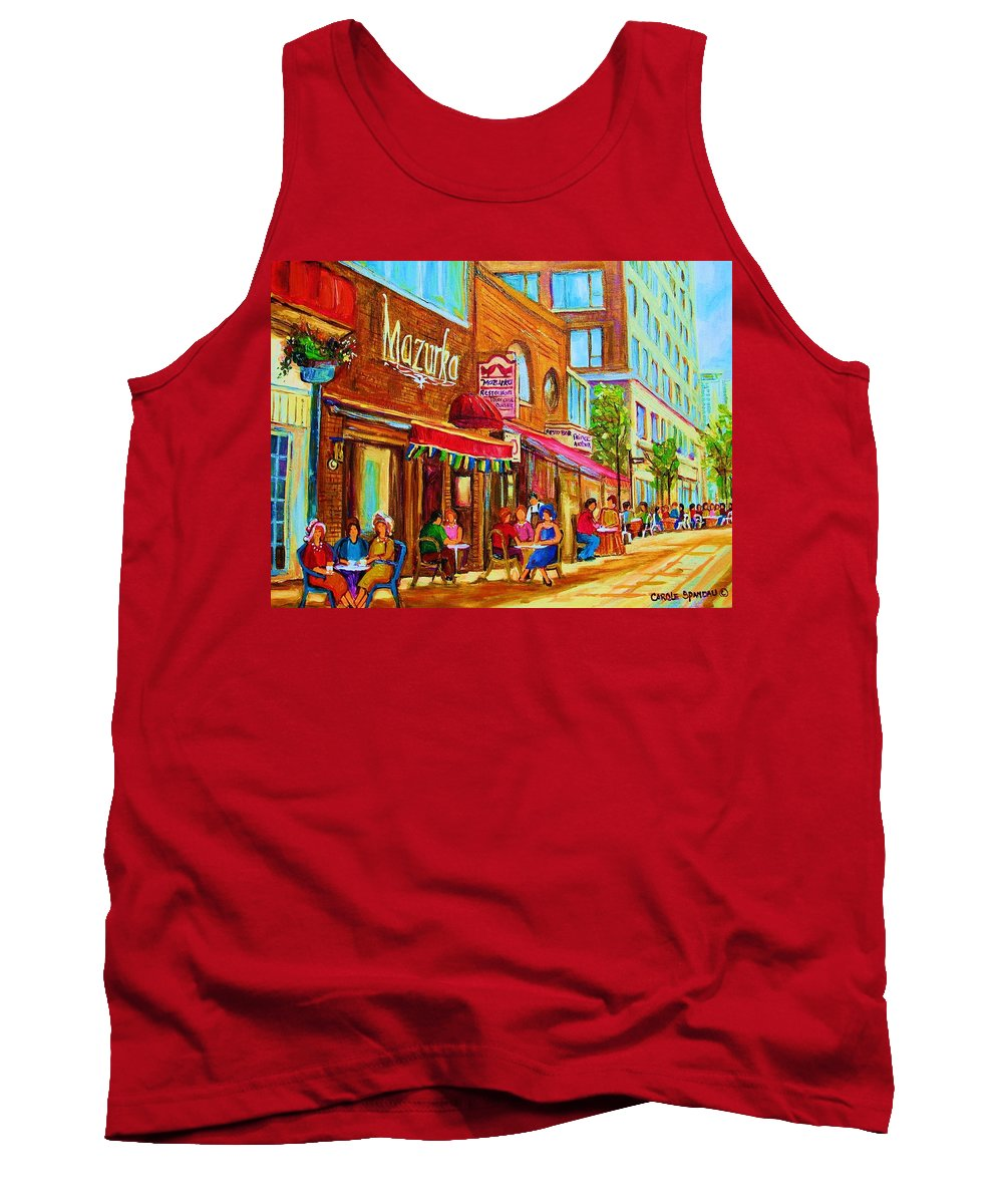 Montreal Streetscene Tank Top featuring the painting Mazurka Cafe by Carole Spandau