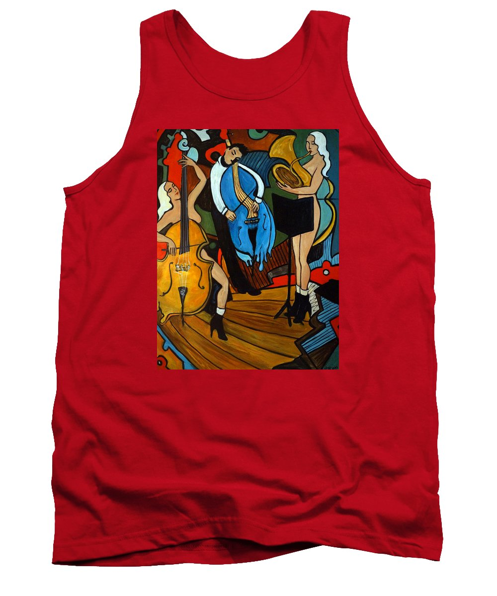 Musician Abstract Tank Top featuring the painting Melting Jazz by Valerie Vescovi