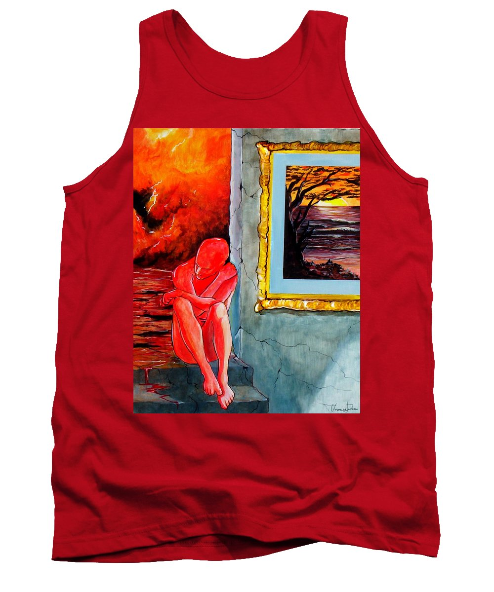 War Sunset Bombs Explosion Wait Loneliness Frustration Tank Top featuring the painting Memoirs Of A Bloody Sunset by Veronica Jackson