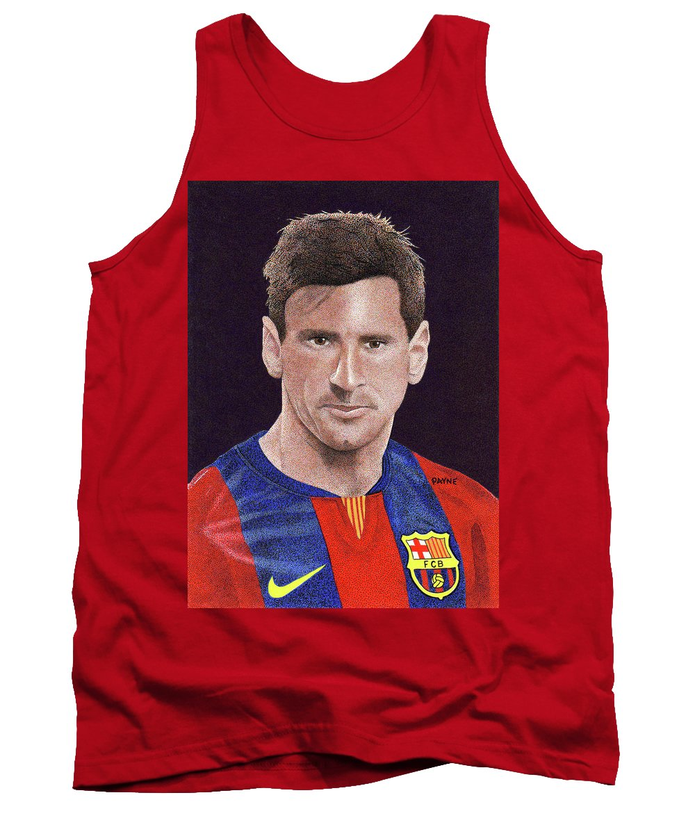 Messi Print Tank Top featuring the painting Messi by Rob Payne