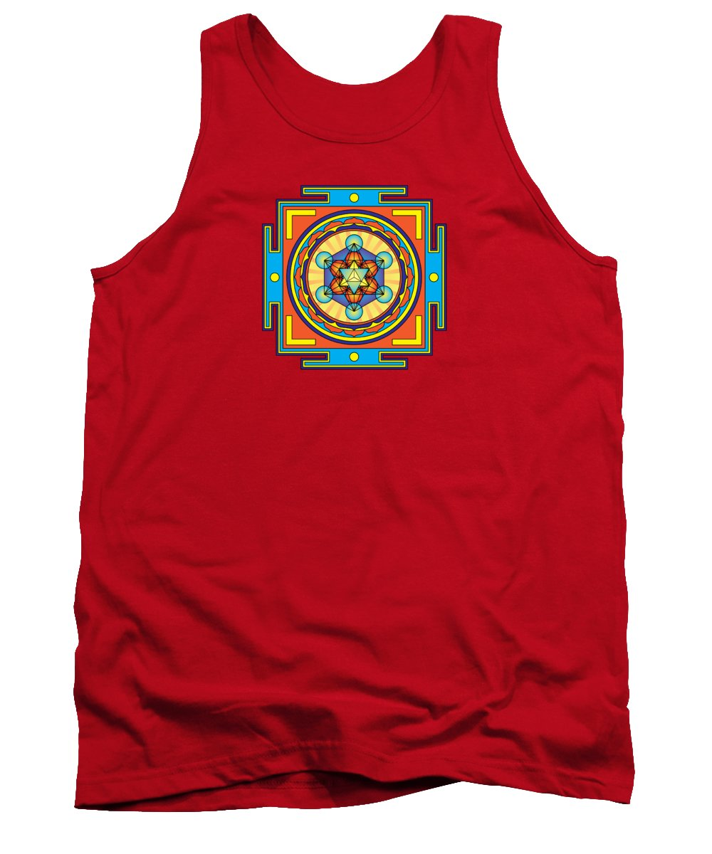 Metatron's Cube Merkaba Mandala Tank Top featuring the digital art Metatron's Cube Merkaba Mandala by Galactic Mantra