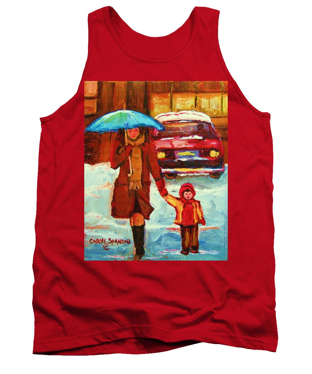 Montreal Tank Top featuring the painting Moms Blue Umbrella by Carole Spandau
