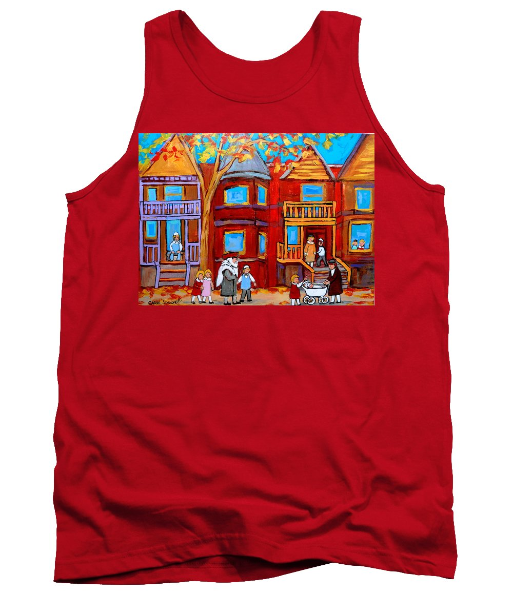 Outremont Tank Top featuring the painting Montreal Memories Of Zaida And The Family by Carole Spandau