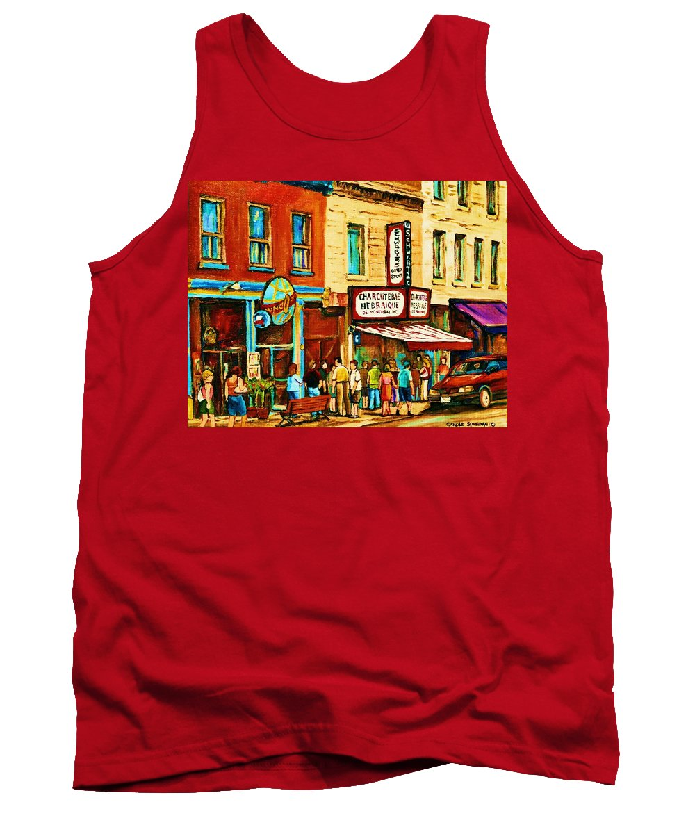 Montreal Tank Top featuring the painting Montreal Streetscene Artist Carole Spandau Paints Schwartzs Main Street Hustle Bustle by Carole Spandau