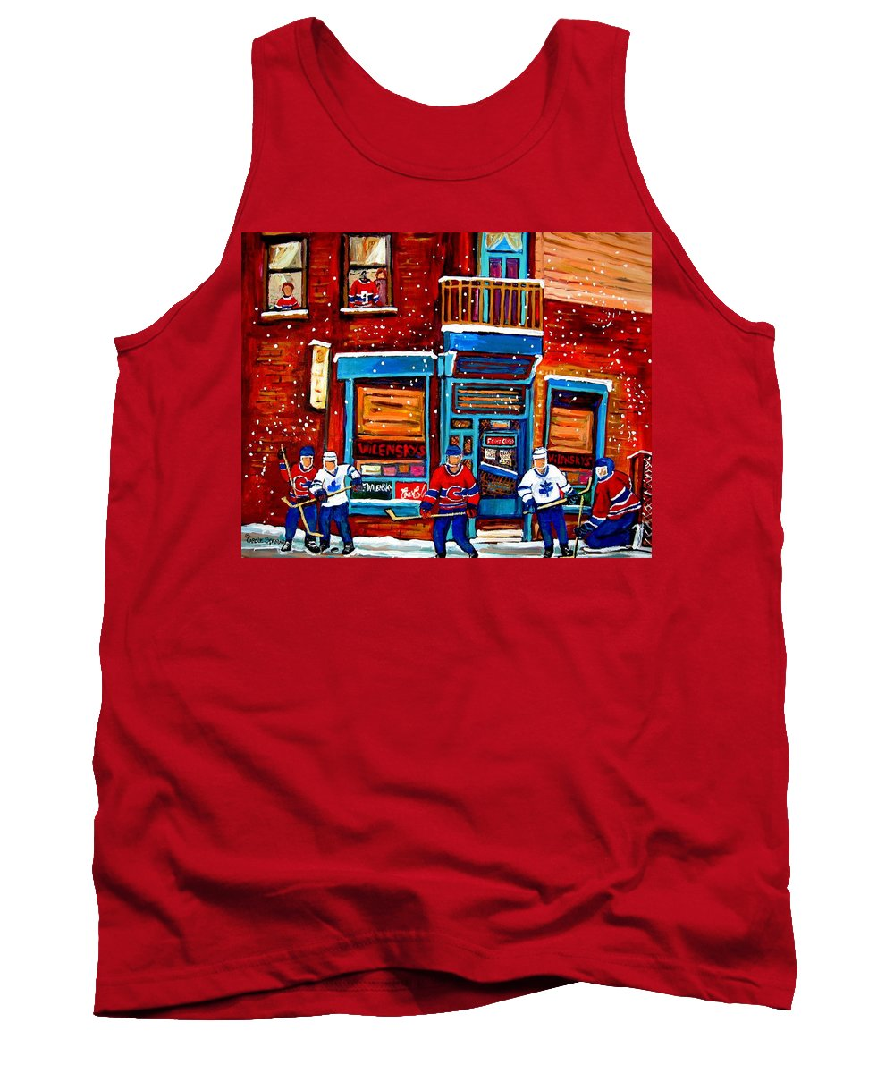 Montreal Tank Top featuring the painting Montreal Wilensky Deli By Carole Spandau Montreal Streetscene And Hockey Artist by Carole Spandau