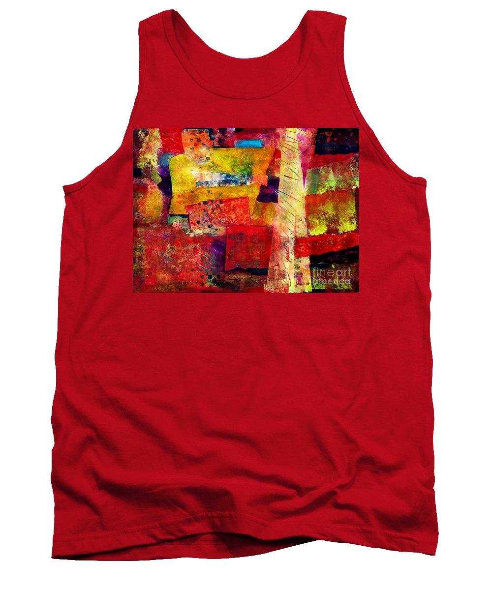 Abstract Expressionism Tank Top featuring the painting Moroccan Souk by Donna Frost