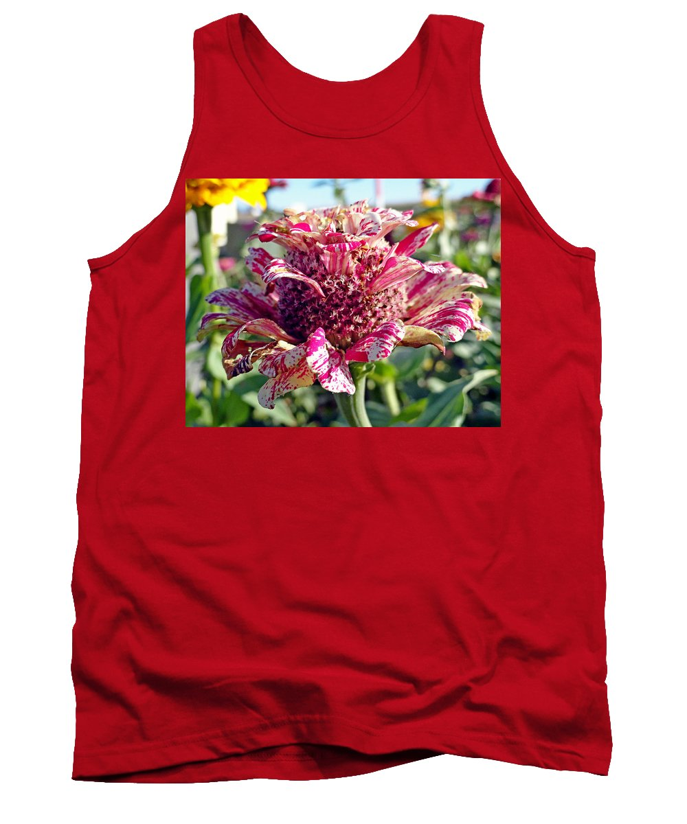 Mottled Pink Tank Top featuring the photograph Mottled Pink Cone Flower by Robert Meyers-Lussier