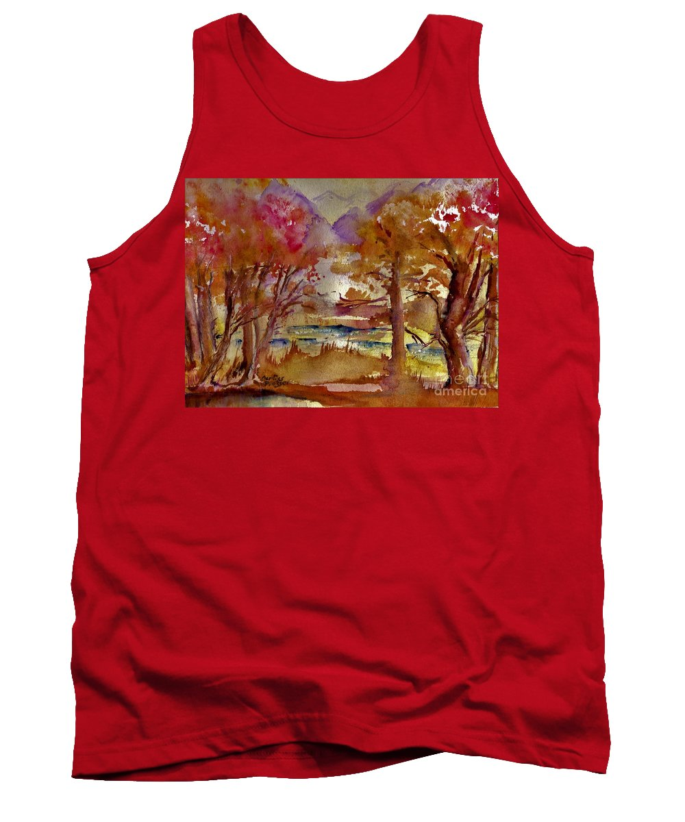 Landscape Tank Top featuring the painting Mountain River by Carliss Prosser