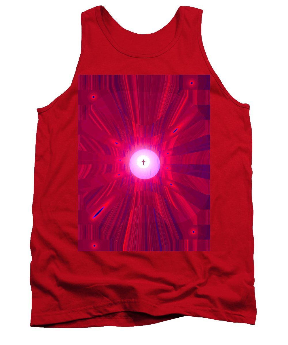 Moveonart! Digital Gallery Tank Top featuring the digital art Moveonart Abstract Cross In Red by Jacob Kanduch