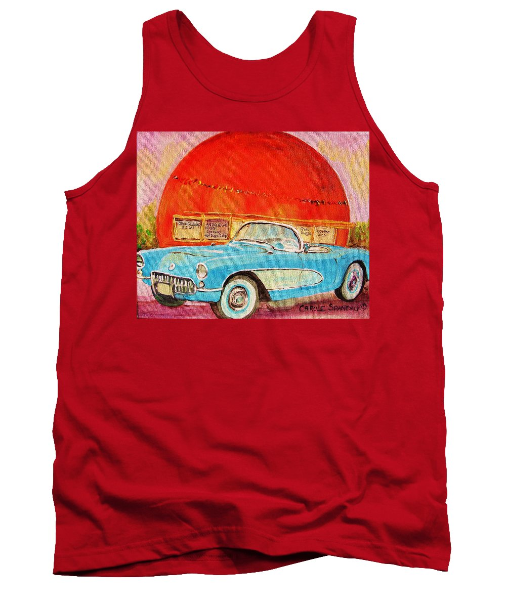 Montreal Tank Top featuring the painting My Blue Corvette At The Orange Julep by Carole Spandau