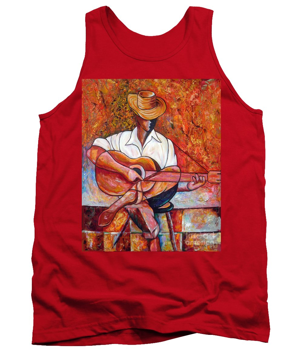 Cuba Art Tank Top featuring the painting My Guitar by Jose Manuel Abraham