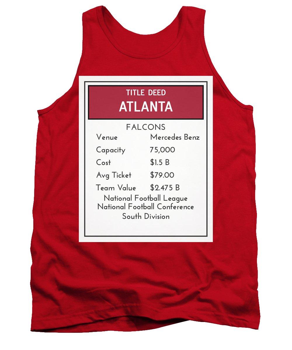 Falcons Tank Top featuring the mixed media My Nfl Atlanta Falcons Monopoly Card by Joe Hamilton