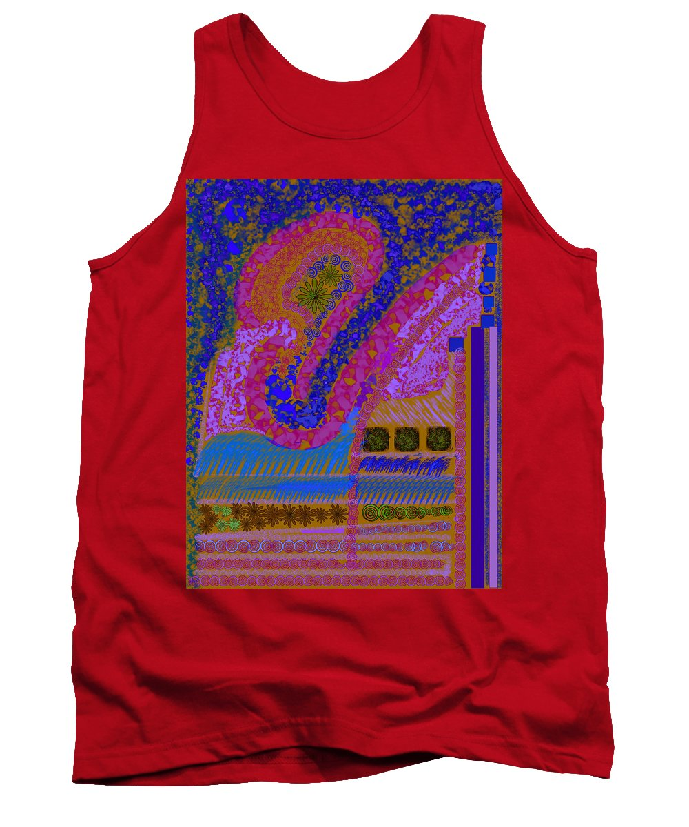 Abstract Colors Pinks Blues Fabricdesign Tank Top featuring the digital art My Yard 2 by Suzanne Udell Levinger