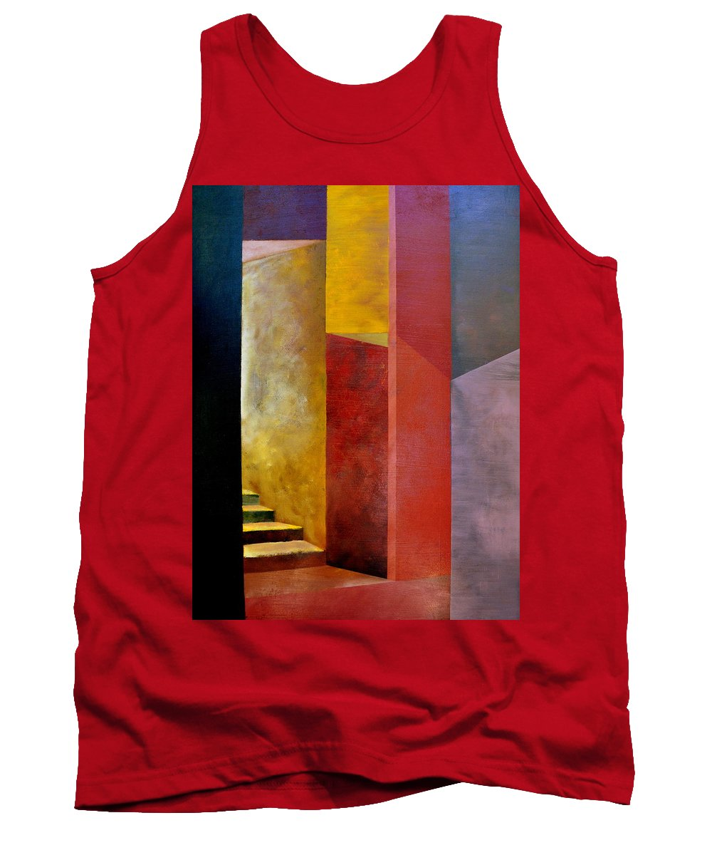 Gold Tank Top featuring the painting Mystery Stairway by Michelle Calkins