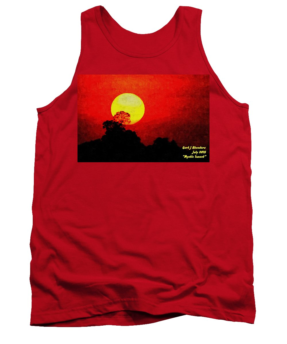 Announcement Tank Top featuring the painting Mystic Sunset H A by Gert J Rheeders