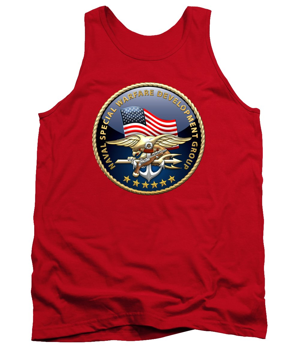 'military Insignia & Heraldry - Nswc' Collection By Serge Averbukh Tank Top featuring the digital art Naval Special Warfare Development Group - D E V G R U - Emblem On Red by Serge Averbukh