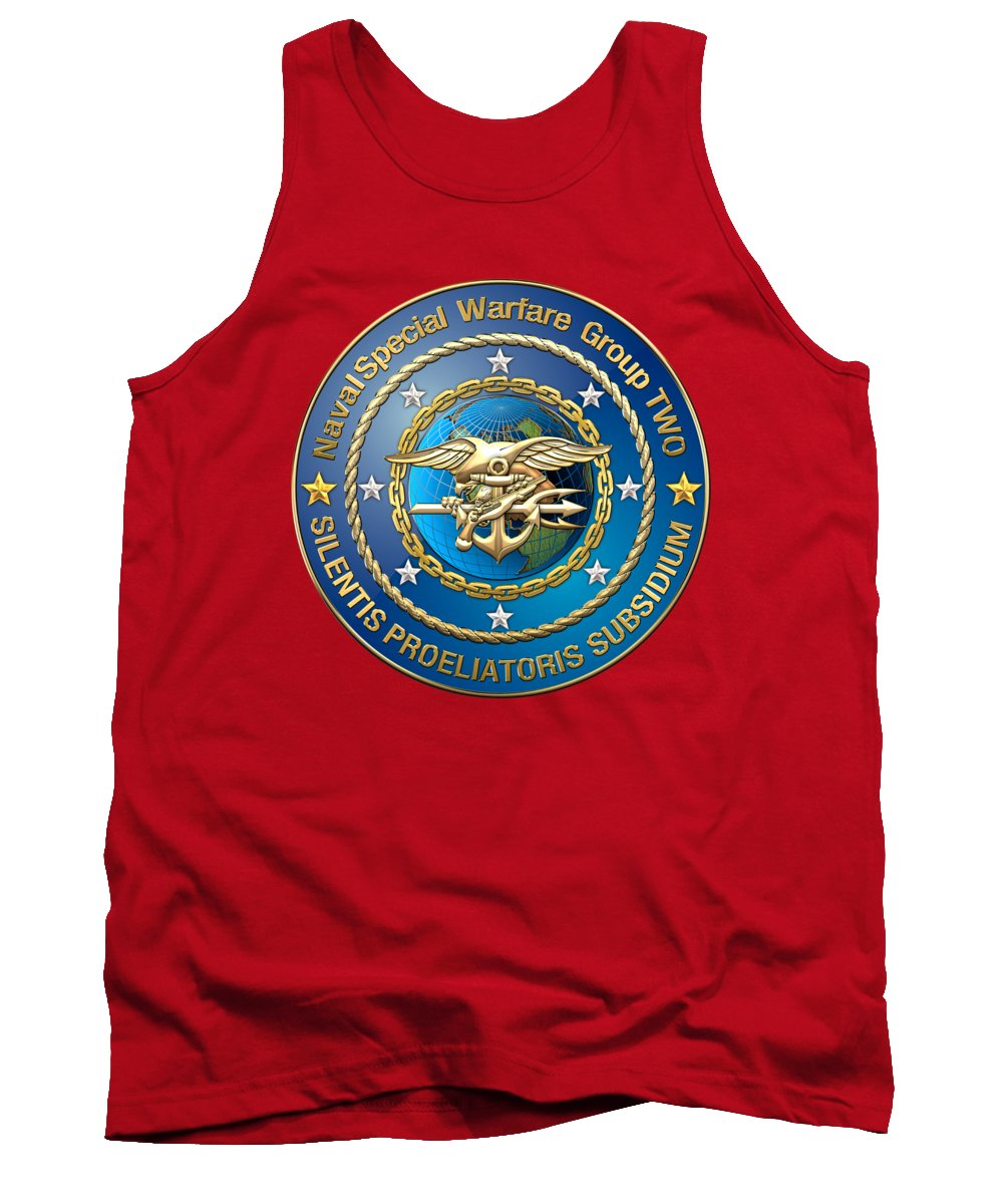 'military Insignia & Heraldry - Nswc' Collection By Serge Averbukh Tank Top featuring the digital art Naval Special Warfare Group Two - N S W G-2 - On Red by Serge Averbukh
