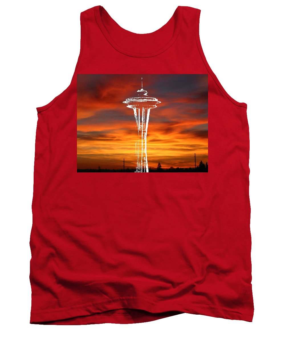 Seattle Tank Top featuring the digital art Needle Silhouette by Tim Allen
