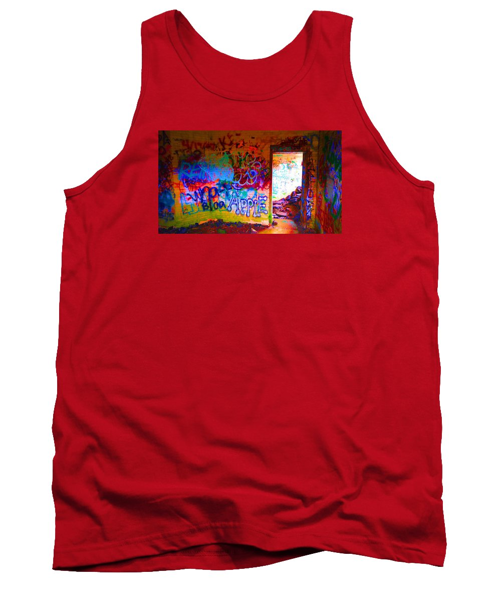Fort Tank Top featuring the photograph Neon Bunkers by Melissa Hicks