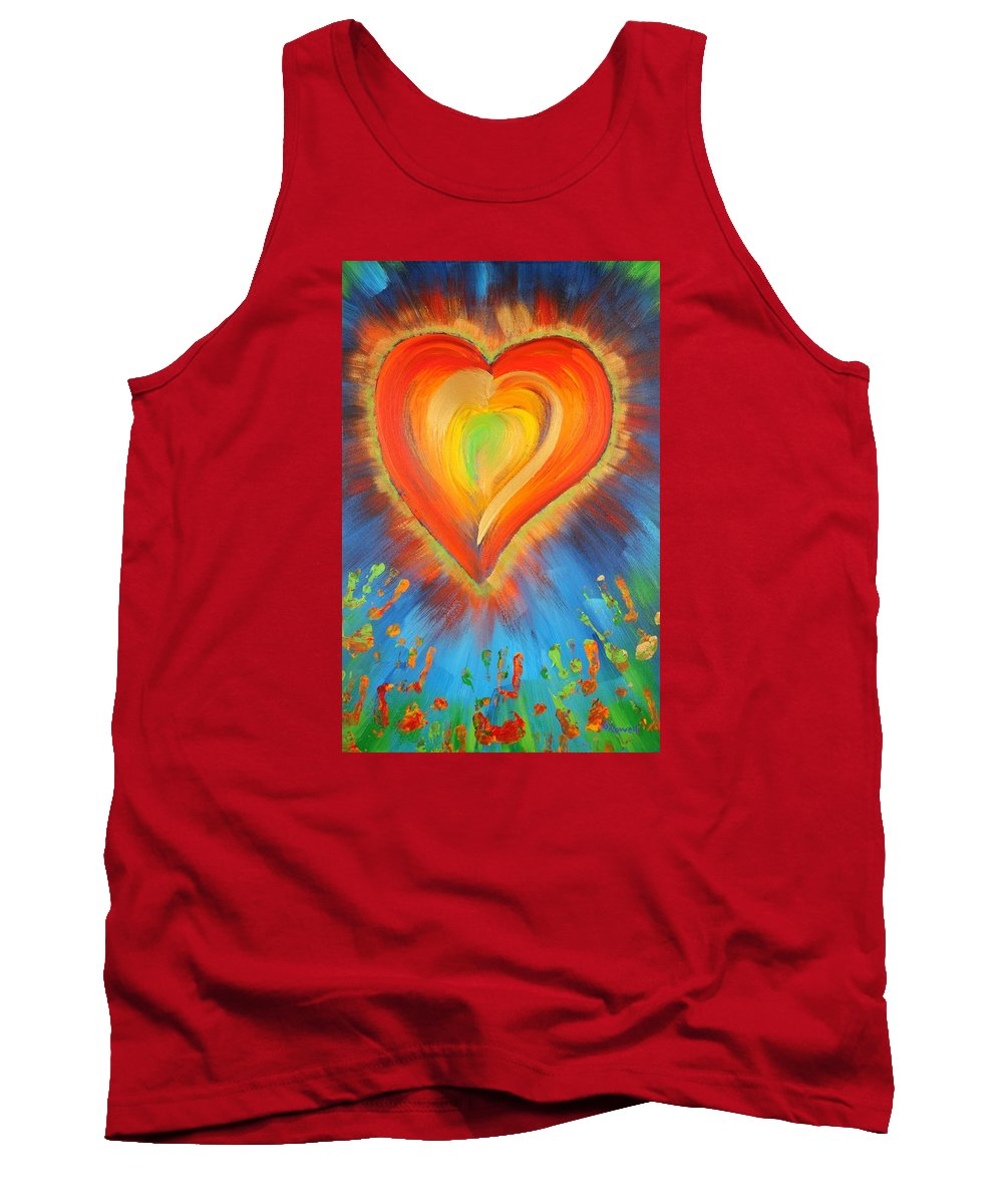 Heart Tank Top featuring the painting New Heart by Gary Rowell