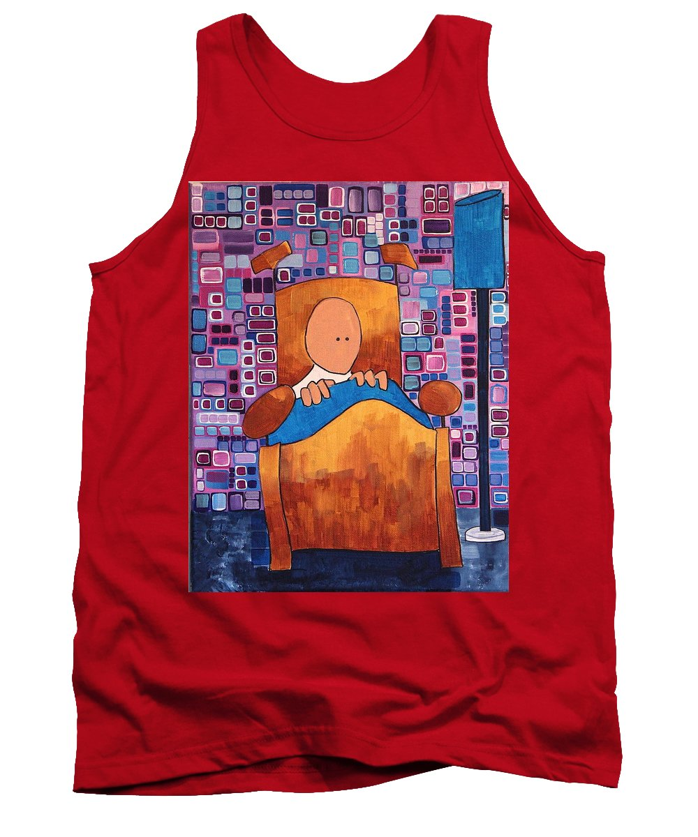 Abstract Tank Top featuring the painting Night Terror by Donna Howard