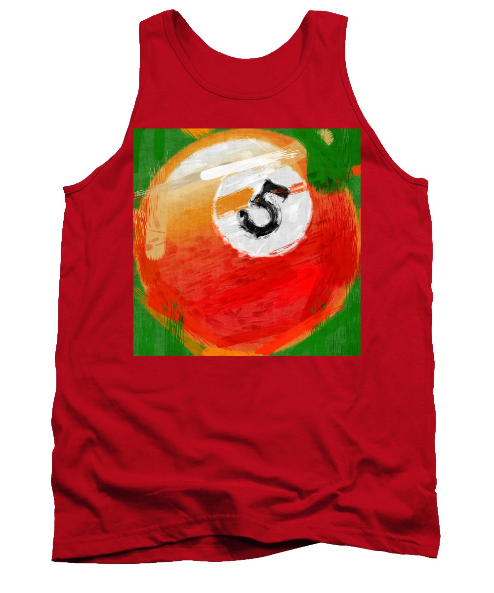Five Tank Top featuring the photograph Number Five Billiards Ball Abstract by David G Paul