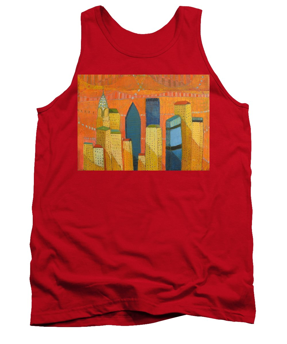 Abstract Cityscape Tank Top featuring the painting Nyc With Chrysler by Habib Ayat