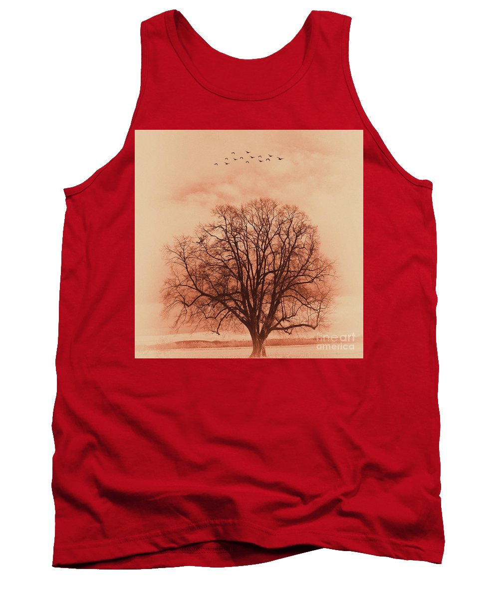 Painting Tank Top featuring the painting Oak Tree Alone by Gull G