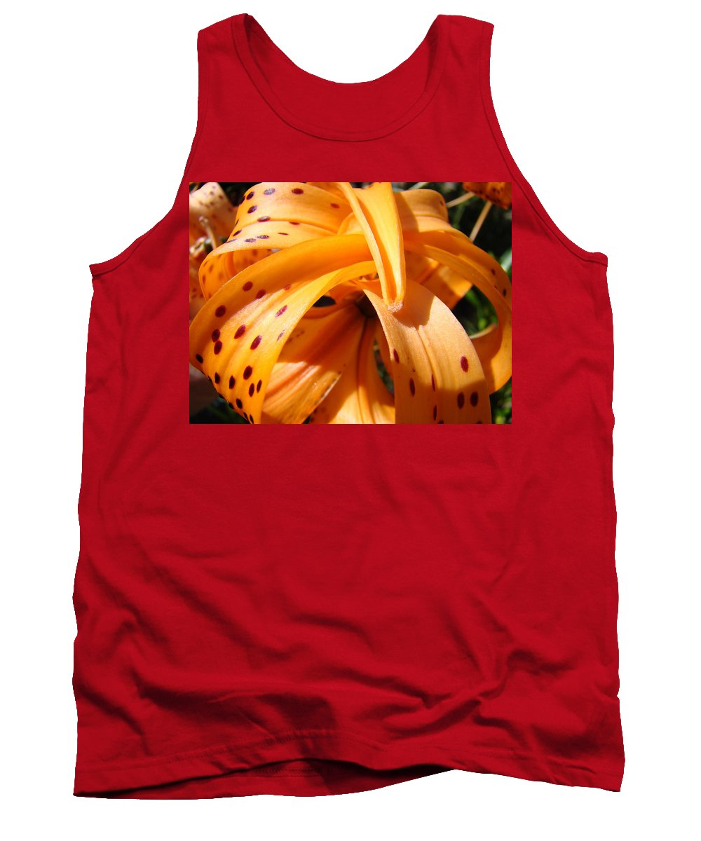 Lilies Tank Top featuring the photograph Office Art Floral Artwork Orange Tiger Lily Baslee Troutman by Baslee Troutman