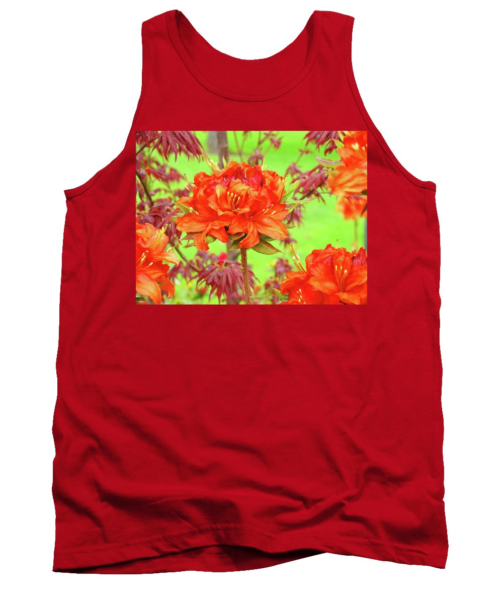�azaleas Artwork� Tank Top featuring the photograph Office Art Prints Orange Azalea Flowers Landscape 13 Giclee Prints Baslee Troutman by Baslee Troutman