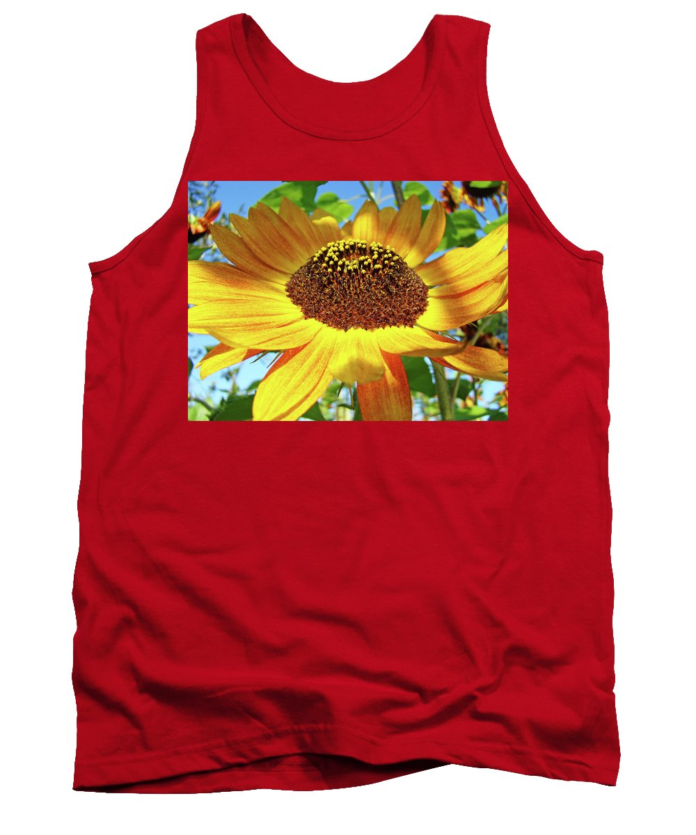 Sunflower Tank Top featuring the photograph Office Art Prints Sunflowers Giclee Prints Sun Flower Baslee Troutman by Baslee Troutman