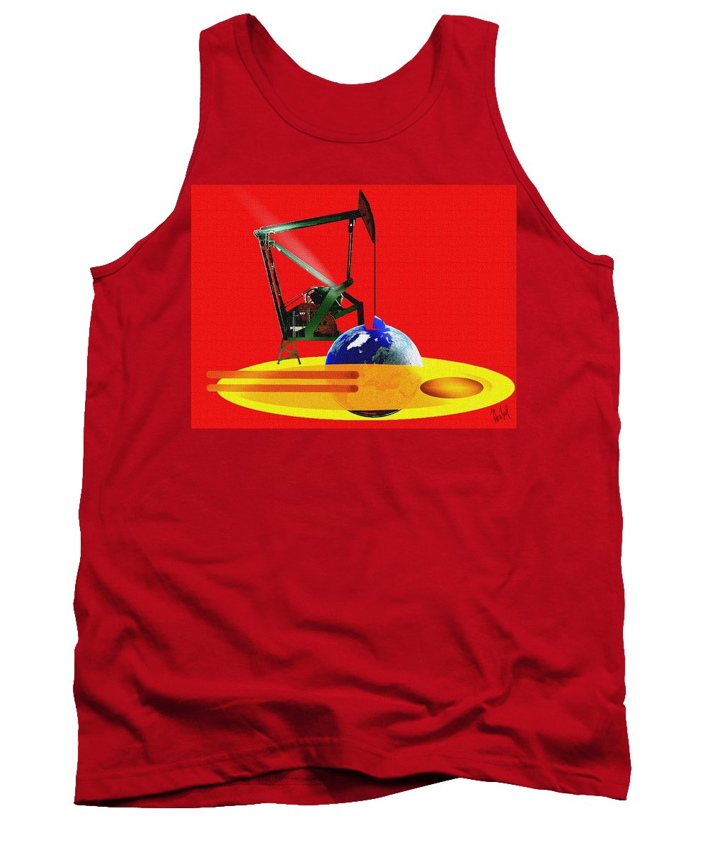 Urgent Tank Top featuring the digital art oil by Helmut Rottler