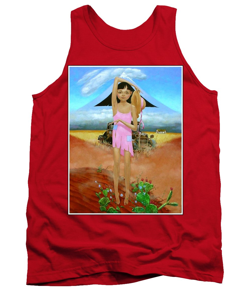 Country Girl Tank Top featuring the painting Oklahoma Girl With Mt.fuji by Jerrold Carton
