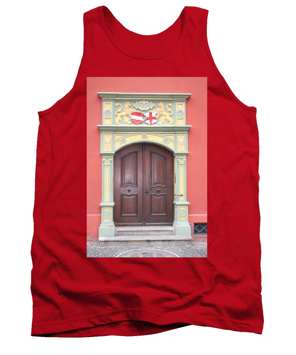 Door Tank Top featuring the photograph Old Door And Emblem by Christiane Schulze Art And Photography