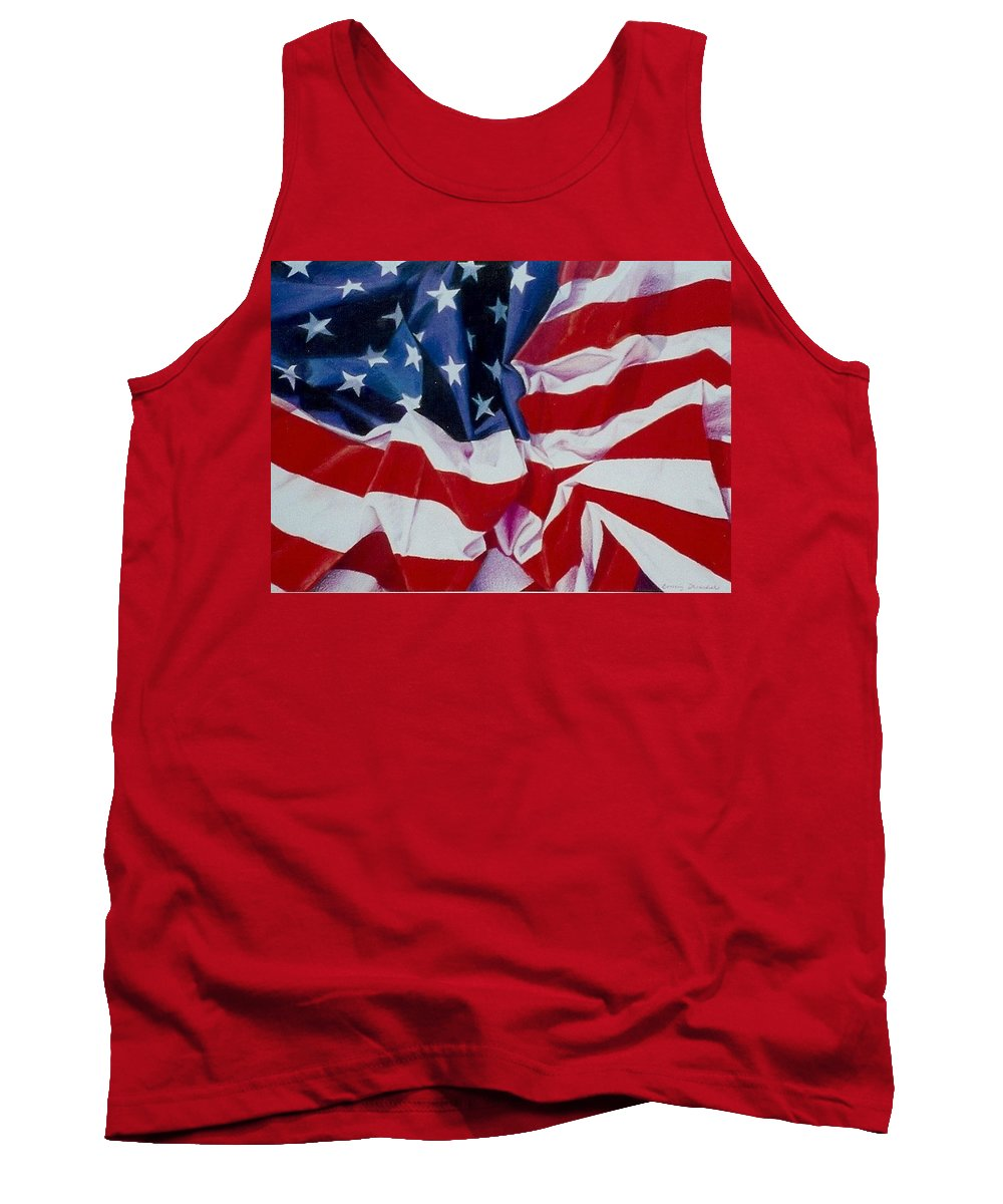 Red Tank Top featuring the painting Old Glory 1 by Constance Drescher