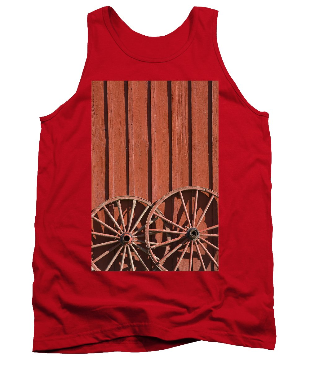 Wheel Wheels Wagon Old Red Barn Antique Past History Rural Country Tank Top featuring the photograph Old Wagon Wheels IIi by Andrei Shliakhau