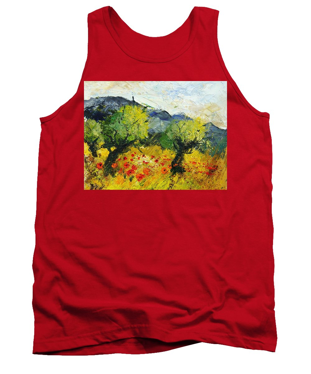 Flowers Tank Top featuring the painting Olive Trees And Poppies by Pol Ledent