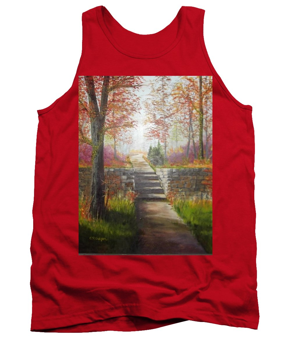 24x30 Landscape Tank Top featuring the painting On The Right Path by Cynthia Geiger