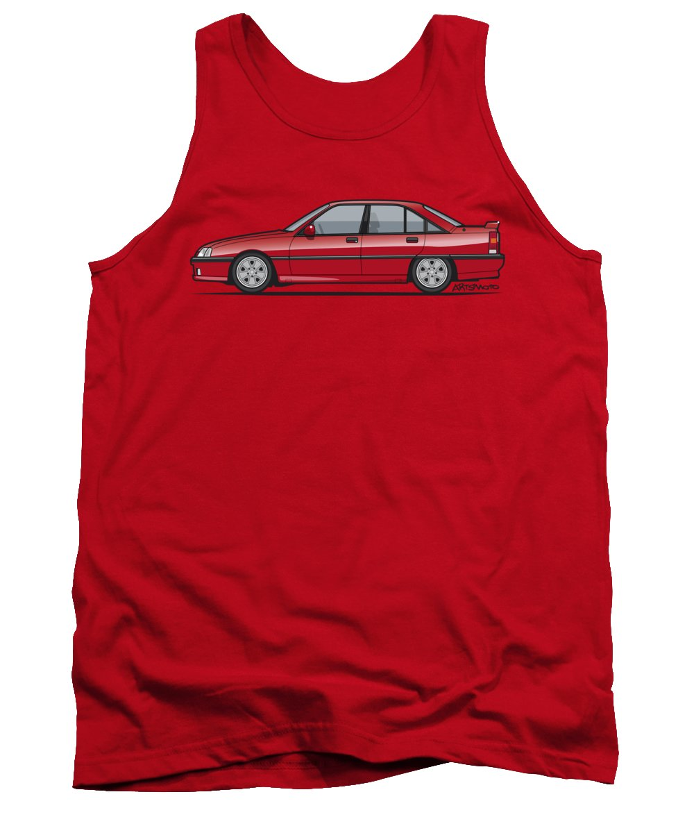 Car Tank Top featuring the digital art Opel Omega A, Vauxhall Carlton 3000 Gsi 24v Red by Monkey Crisis On Mars