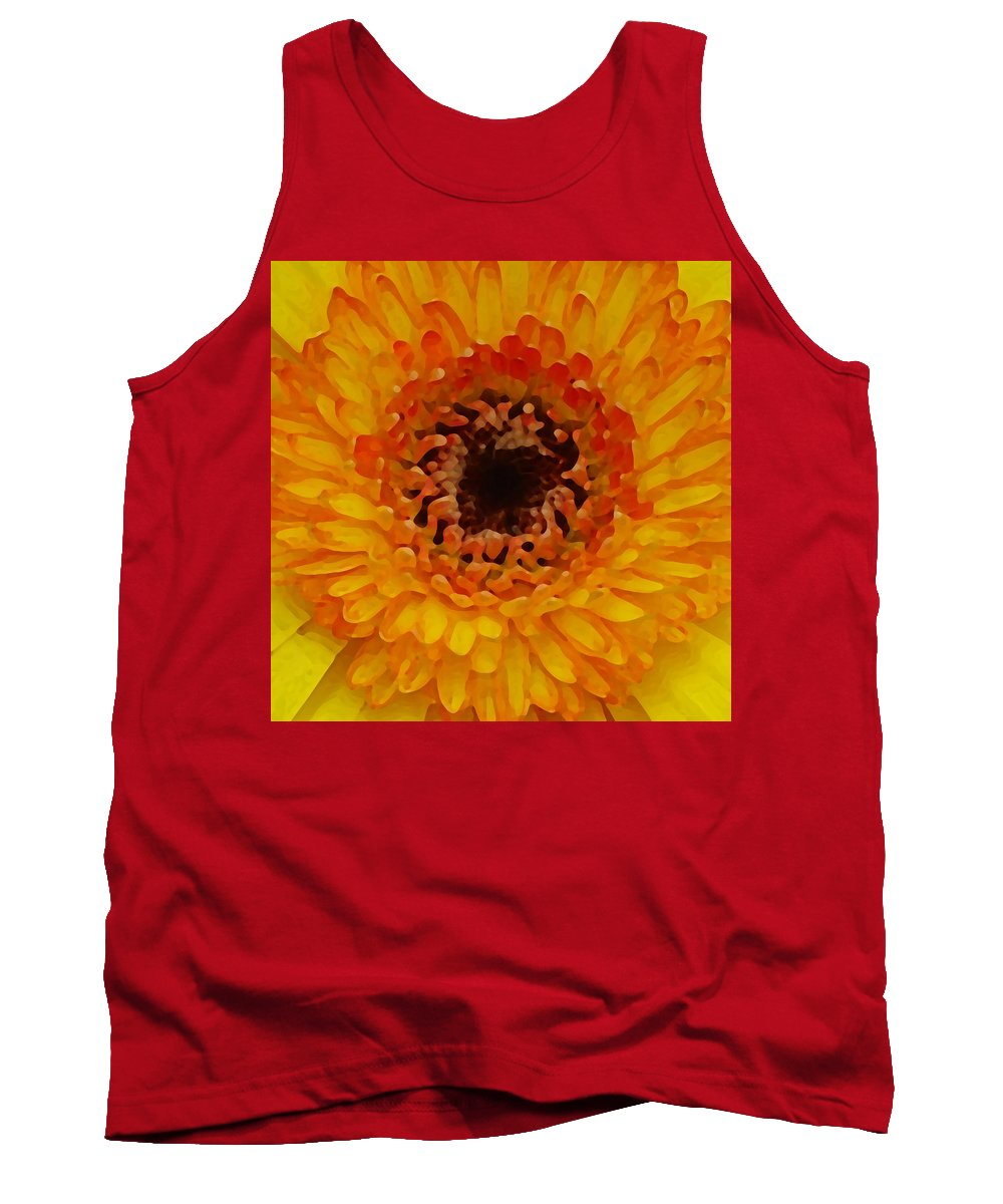 Daisy Tank Top featuring the painting Orange And Black Gerber Center by Amy Vangsgard