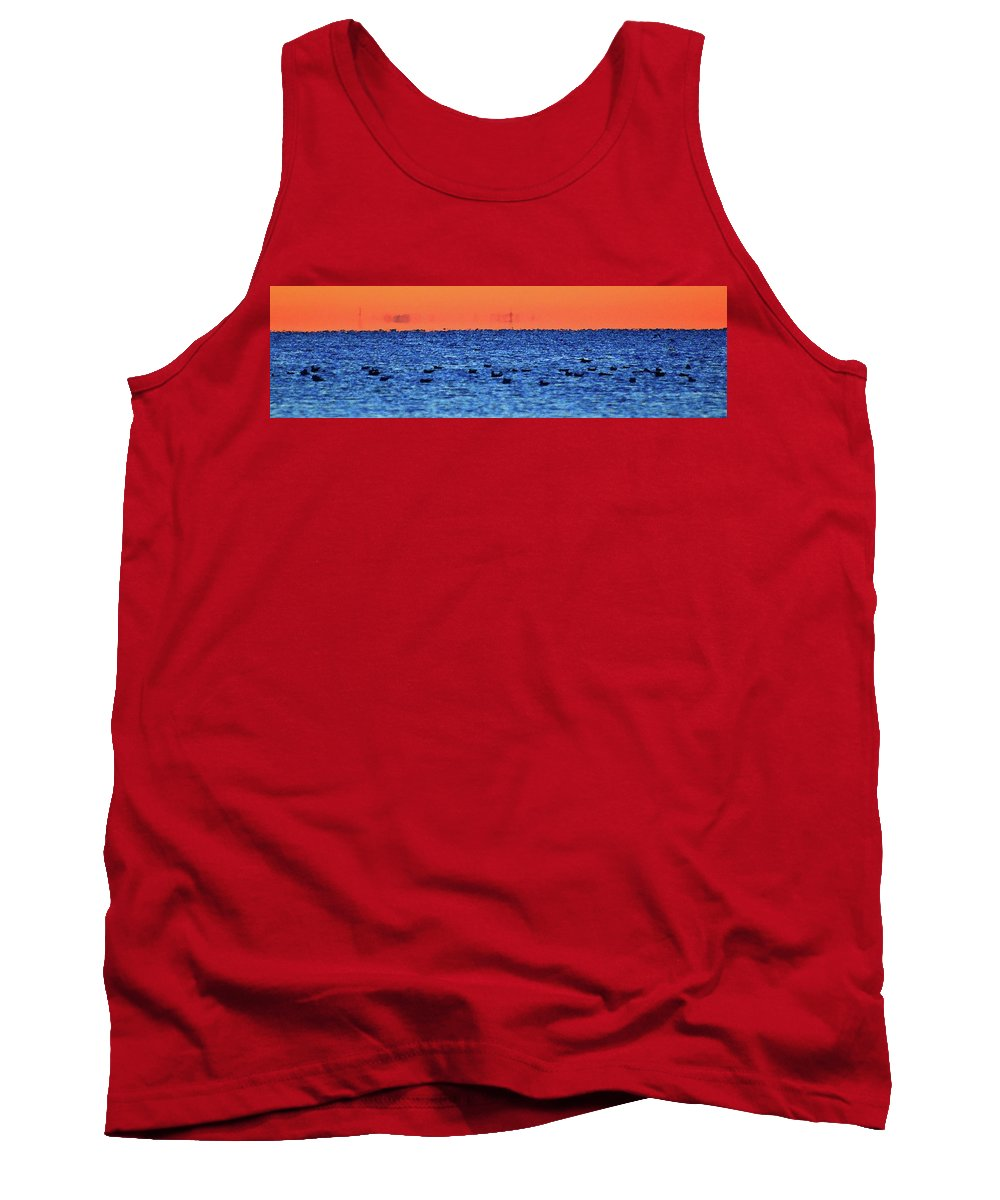Abstract Tank Top featuring the digital art Orange And Blue Morning 4 by Lyle Crump