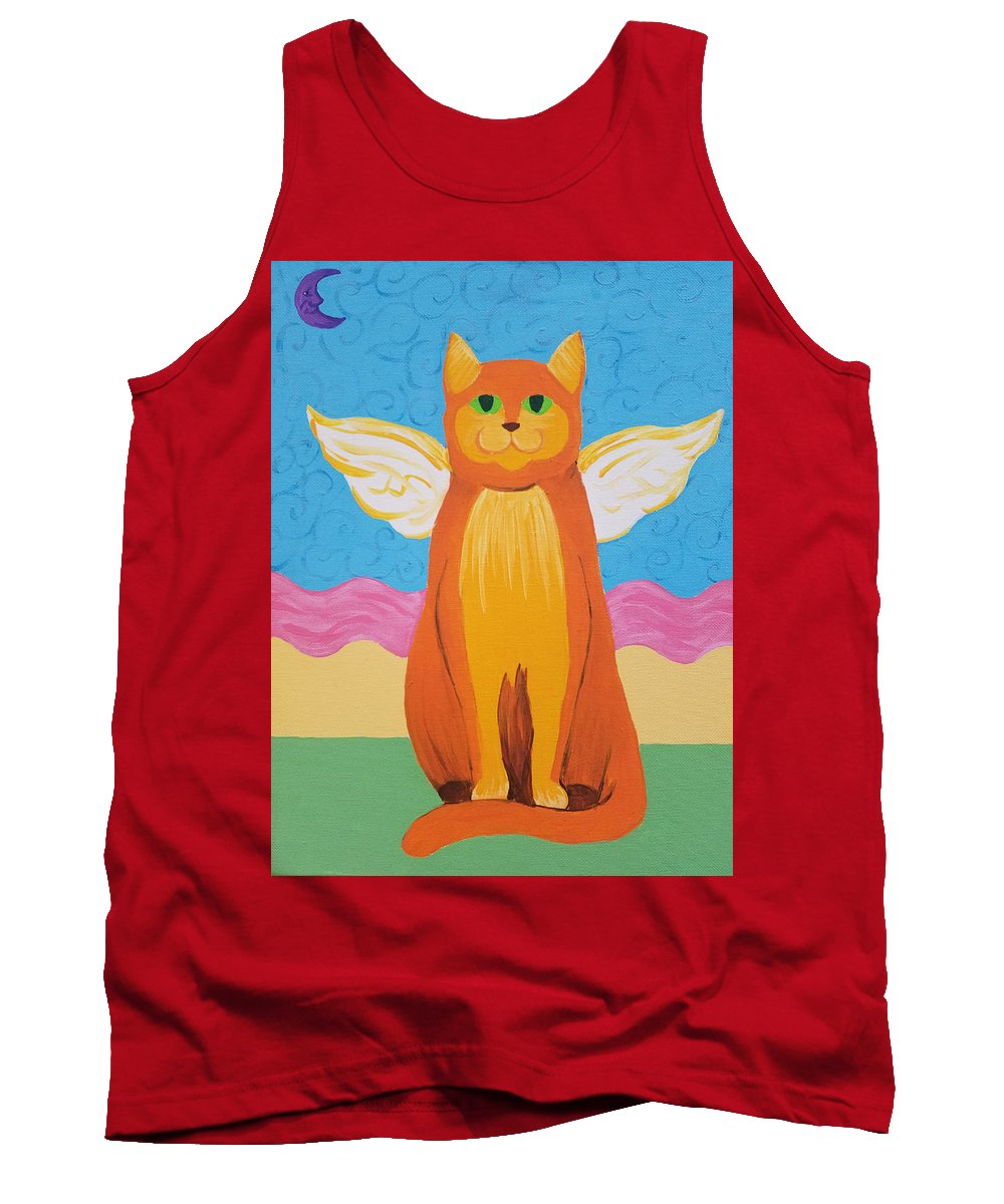Orange Tank Top featuring the painting Orange Angel Cat by Johnny McNabb