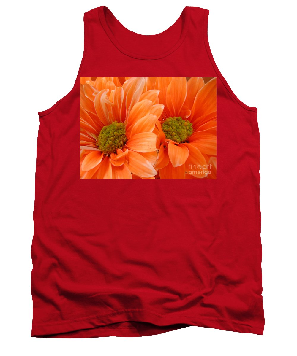 Nature Tank Top featuring the photograph Orange Daisies Paired by Lucyna A M Green