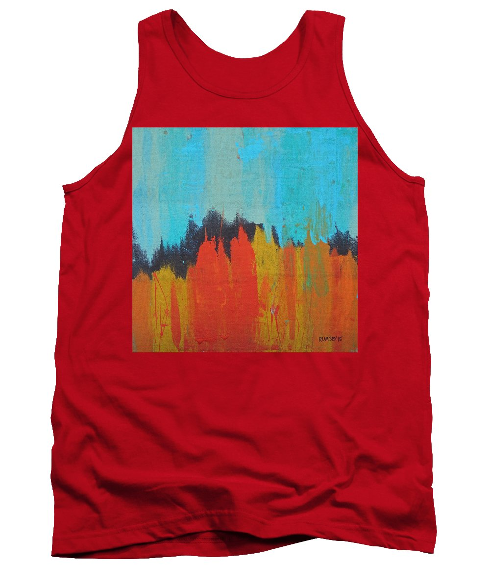 Forest Tank Top featuring the painting Orange Forest by Rhodes Rumsey