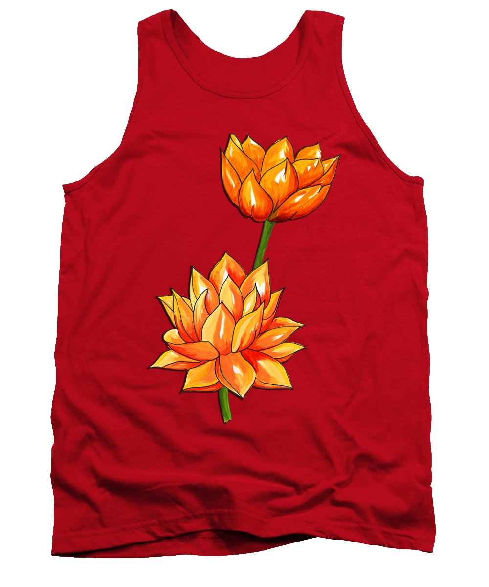 Lotus Flower Tank Top featuring the painting Lotus Flower Tattoo Design Inspired Watercolour by Purrnickerty Cat