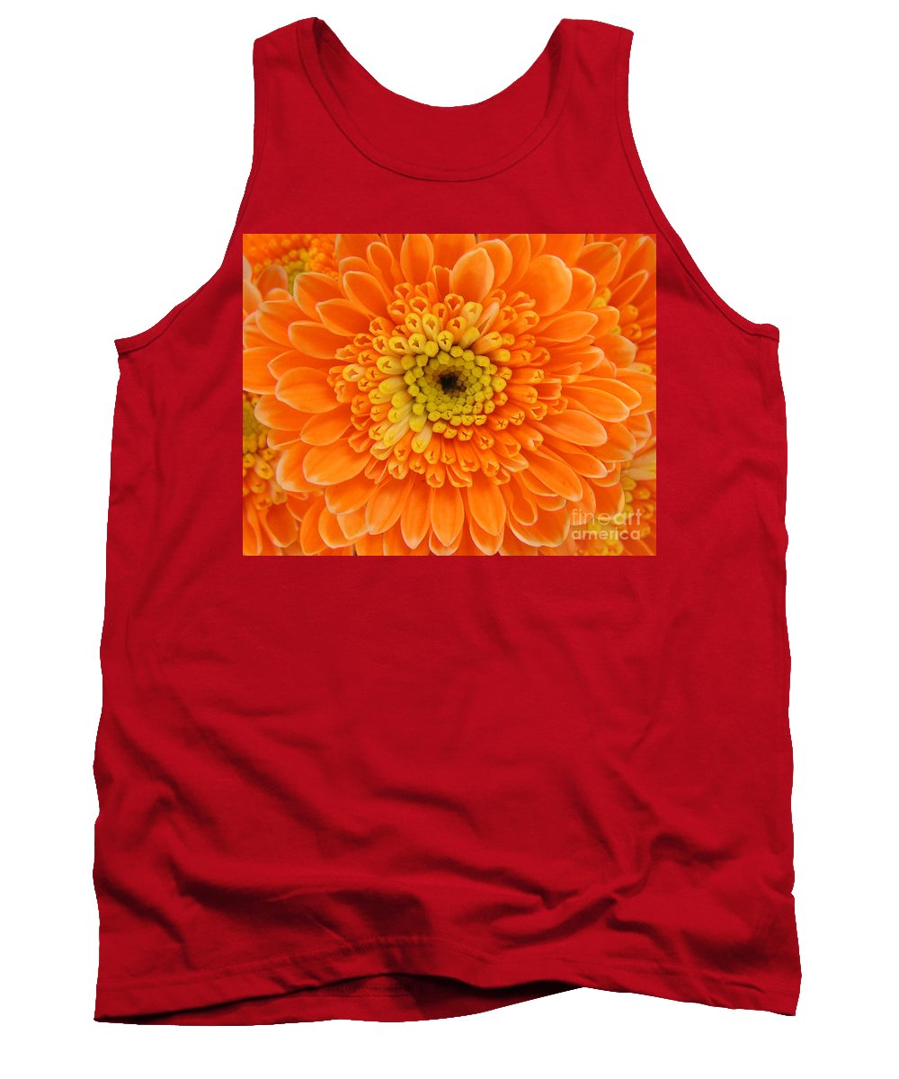 Nature Tank Top featuring the photograph Orange Mum In Detail by Lucyna A M Green