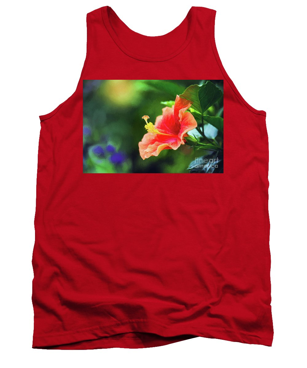 Nature Tank Top featuring the photograph Orange Red Hibiscus by Sharon McConnell